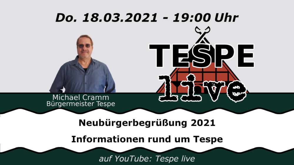 Erste Neubürgerbegrüßung Online bei Tespe Live